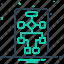 development, diagram, flowchart, organization, project, workflow, workflow planning icon