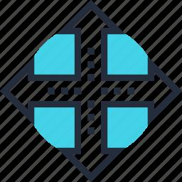 arrow, cross, decision, direction, path, road, way icon