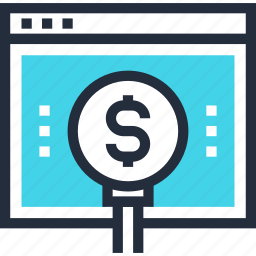 dollar, find, investment, magnifier, money, online, search icon