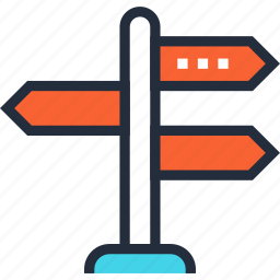 decision, direction, guide, path, road, sign, way icon