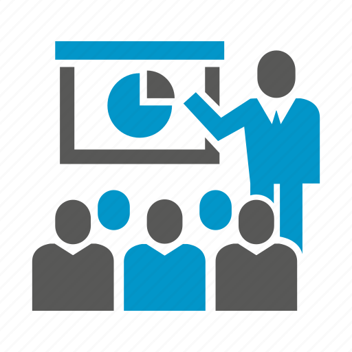 business people, cooperate, management, office, pie chart, presentation, slide icon