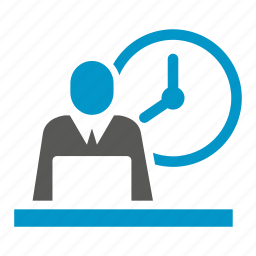 clock, cooperate, laptop, office, time, working icon