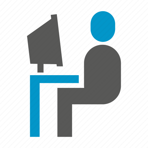computer, office, sitting, working icon