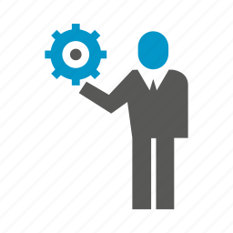 business people, cog, gear, hold icon