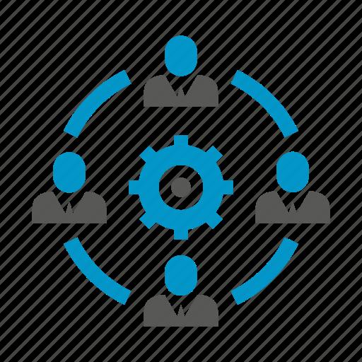 allocation, diagram, gear, management, manpower, organization, people icon