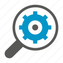 cog, gear, magnifier, optimization, search, seo icon