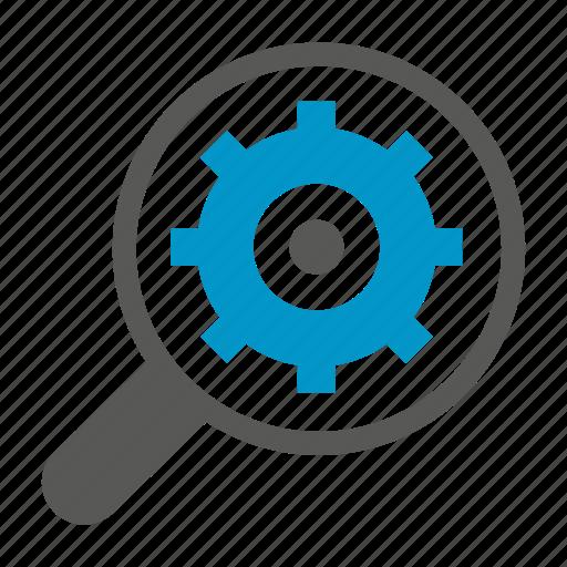 cog, gear, magnifier, optimization, search, seo icon