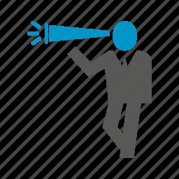 binocular, boss, business people, leader, vision icon