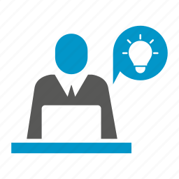 computer, idea, laptop, mind, office, think, working icon