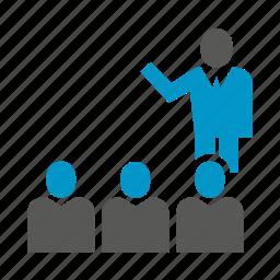 leader, people, speaker, teamwork, training icon