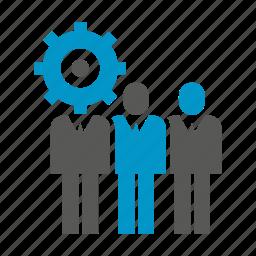 gear, logic, organization, people, team icon