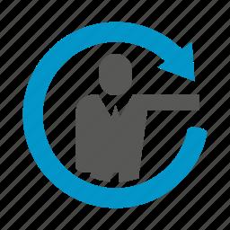 arrow, business people, loading, loop, people icon