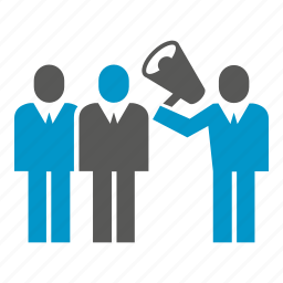 advertising, announce, leader, megaphone, people icon