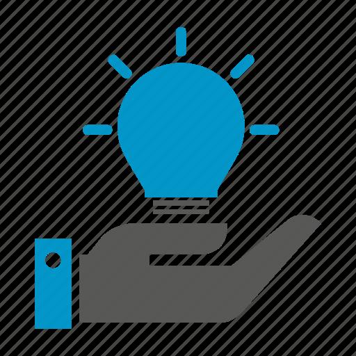 bulb, creative, hand, hold, idea, light, smart icon
