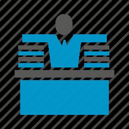 desk, hardwork, office, paper, people, worker icon