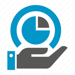 data, hand, hold, pie chart, stats icon