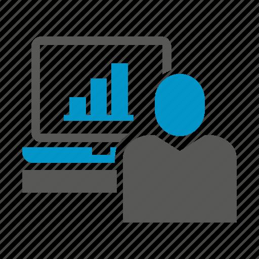 chart, computer, desktop, graph, monitoring, office icon