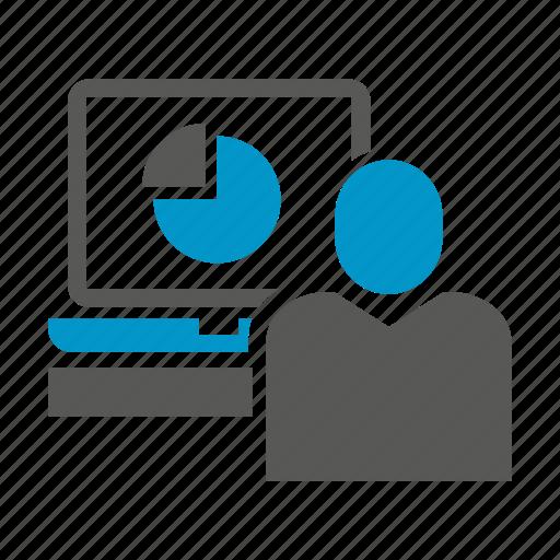 computer, desktop, monitoring, office, pie chart, worker icon