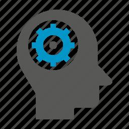 cog, gear, head, idea, logic, think icon