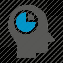 head, logic, market share, pie chart, think icon