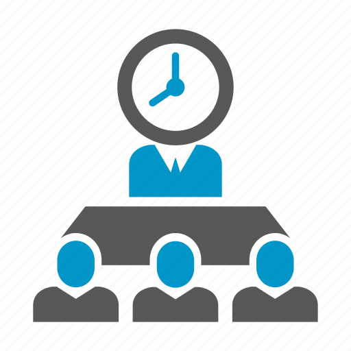 business meeting, clock, corporate, meeting, office, time icon