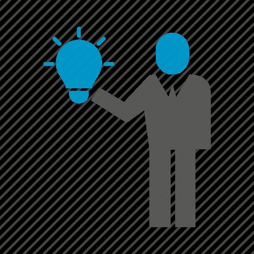 business people, creative, hold, idea, light bulb, think icon