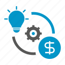 allocation, cog, gear, idea, inovation, money, rotate icon