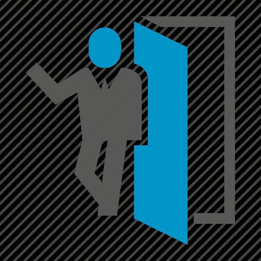 business people, door, office, people icon