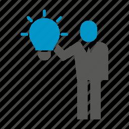 business people, idea, light bulb icon
