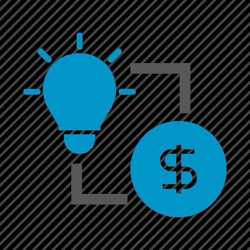 allocate, bulb, currency, idea, money icon