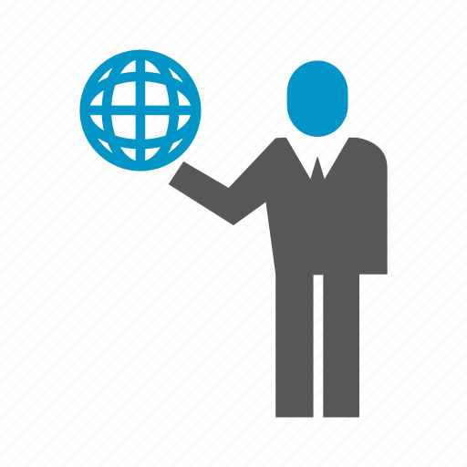 business people, globe, hold, world icon