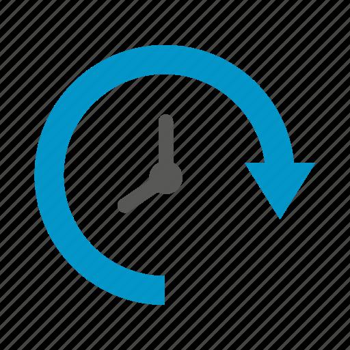 arrow, clock, loop, time icon