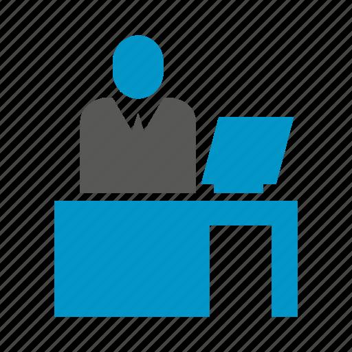 desk, desktop, office, worker, working icon