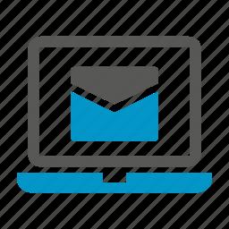 computer, email, envelope, laptop, letter, send icon