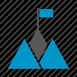 accomplishment, achievement, flag, height, mountain, success, victory icon