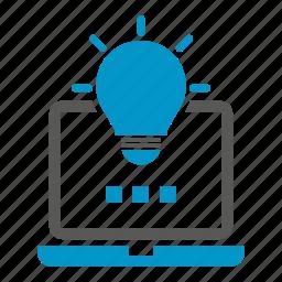 computer, idea, laptop, light bulb icon