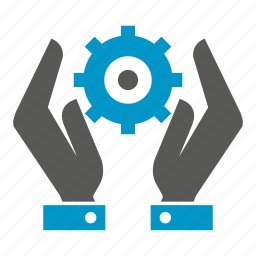 cog, gear, hand, hold, save icon