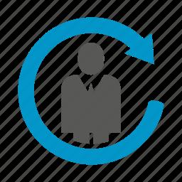 arrow, loop, people icon