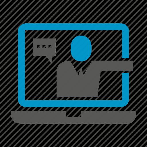 communicate, laptop, people icon