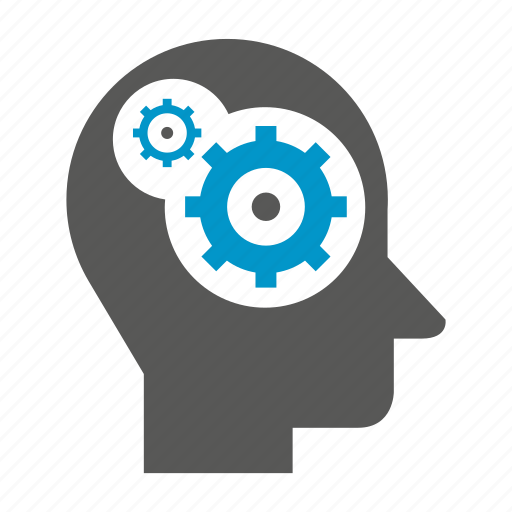 cog, gear, head, human, logic icon