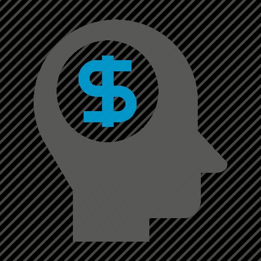 head, human, idea, mind, money icon