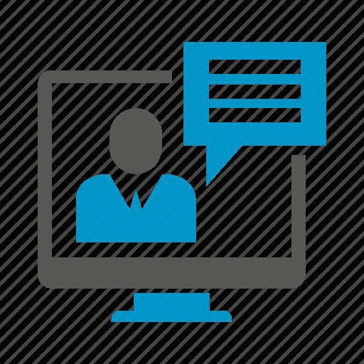chat, communicate, computer, desktop, speech icon