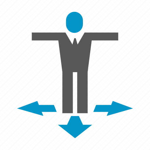 arrow, decision making, direction, people icon