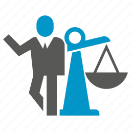 balance scale, business people, justice, law icon
