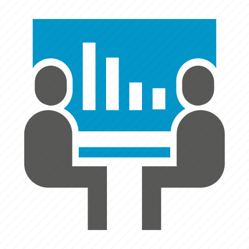 chart, conference, graph, meeting, people, sitting icon