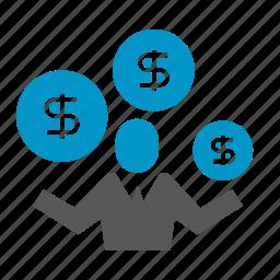 bank, dollar, finance, money, people icon