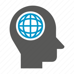 globe, head, mind, think, world icon