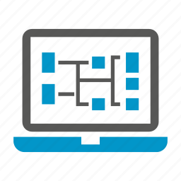 computer, diagram, laptop icon
