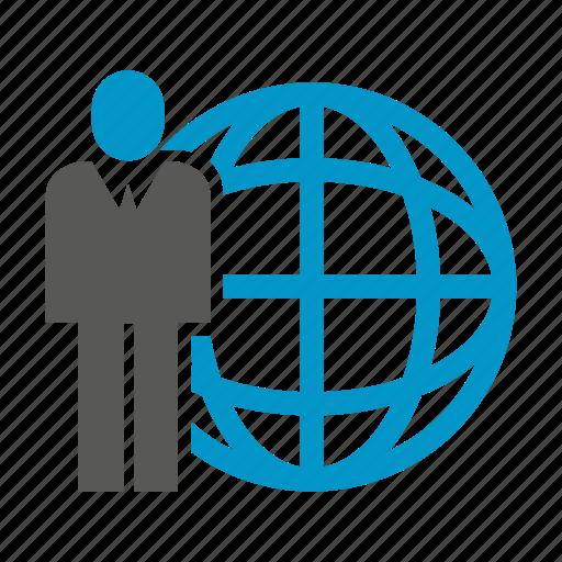 business people, globe, world icon