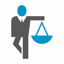 balance scale, business people, justice, law, weight icon